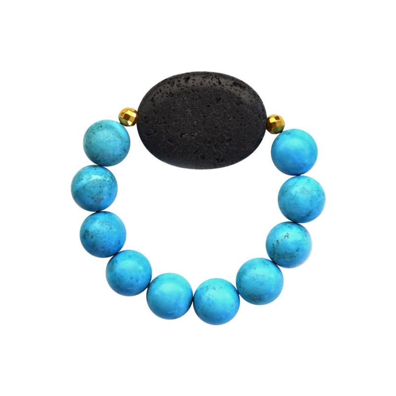 Βραχιόλι με Turquoise, Lava και Hematite - 123343P
