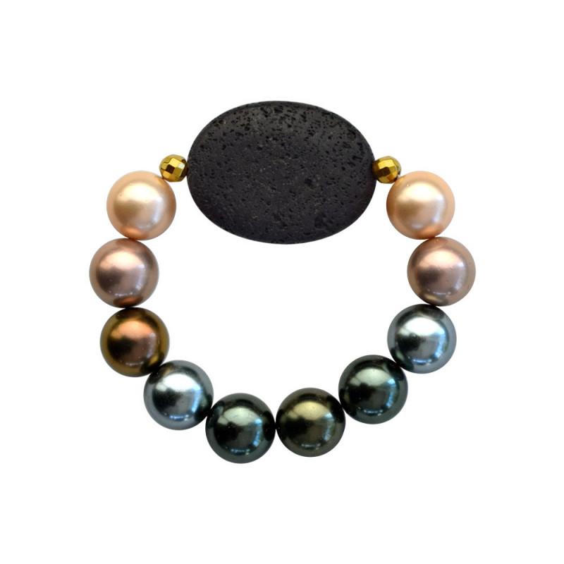 Βραχιόλι με Shell Pearl, Lava και Hematite - 123343Q