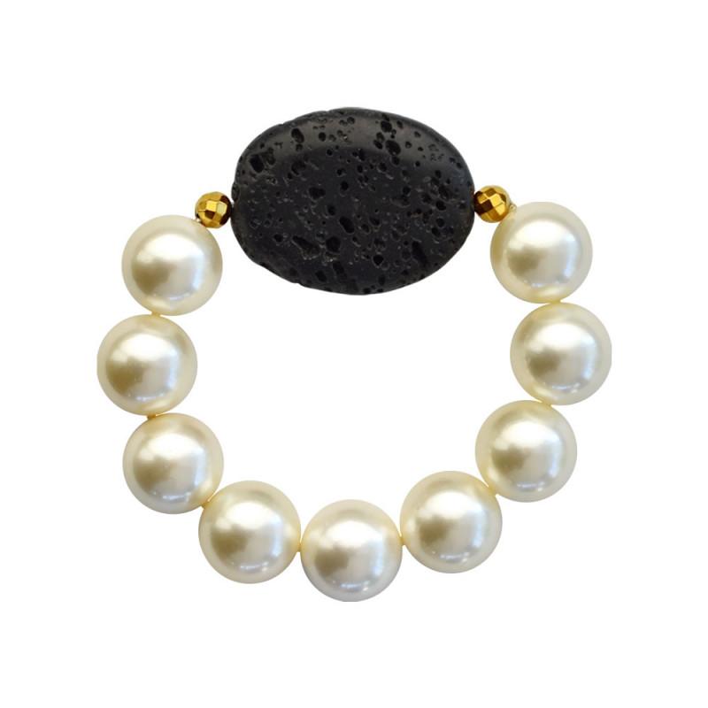 Βραχιόλι με Shell Pearl, Lava και Hematite - 123343R