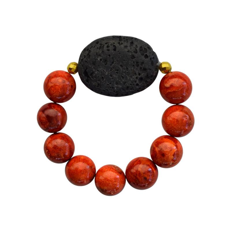 Βραχιόλι με Coral, Lava και Hematite - 123343S