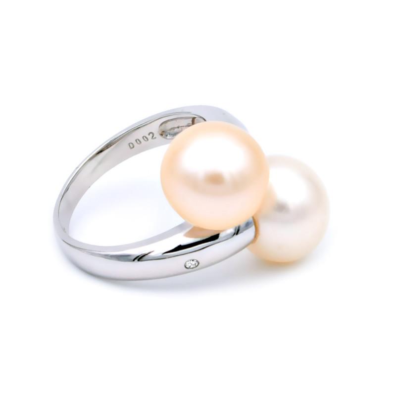 Δαχτυλίδι με μαργαριτάρια και διαμάντια σε λευκόχρυσο Κ18 - 314259