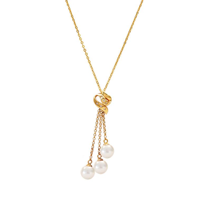 Κολιέ με μαργαριτάρια και διαμάντια σε χρυσή αλυσίδα Κ18 - 123212