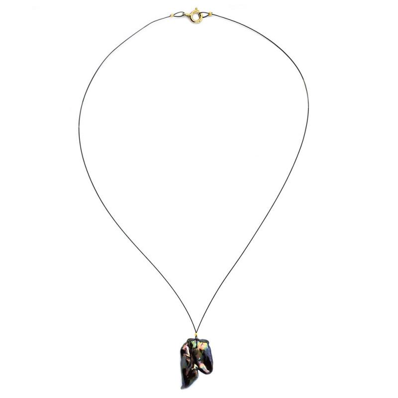 Κολιέ με μαύρο μαργαριτάρι και ασημένιο κούμπωμα 925 - 123604