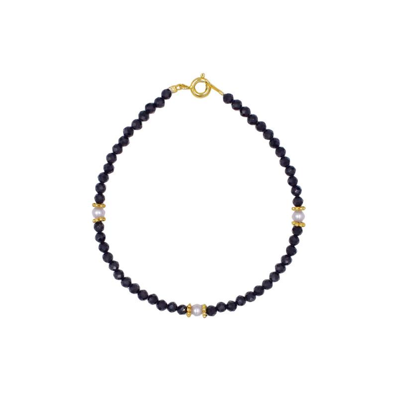 Βραχιόλι με Spinel, μαργαριτάρια και ασημένιο κούμπωμα 925 - 123905S