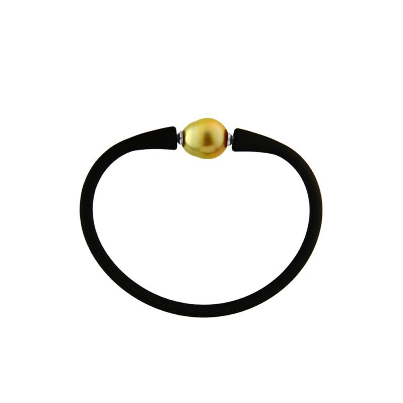 Βραχιόλι με gold μαργαριτάρι South Sea 10,0-11,0mm Black Elastic Silicon - 122715BRCG