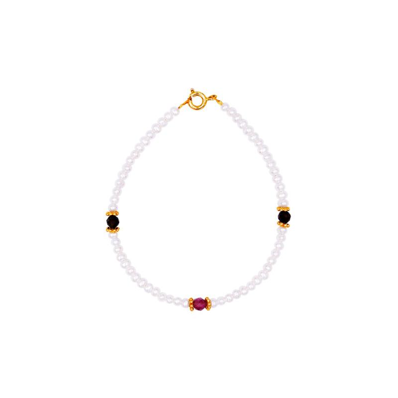 Βραχιόλι με μαργαριτάρια, τουρμαλίνες και ασημένιο κούμπωμα 925 - 123906T